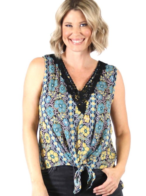 Nostalgia tie front sleeveless top