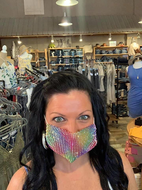 Rainbow bling masks