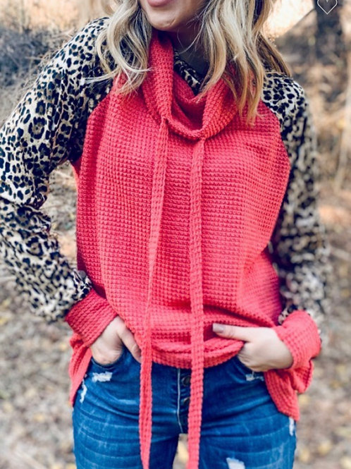 Leopard and solid double turtle neck knit top