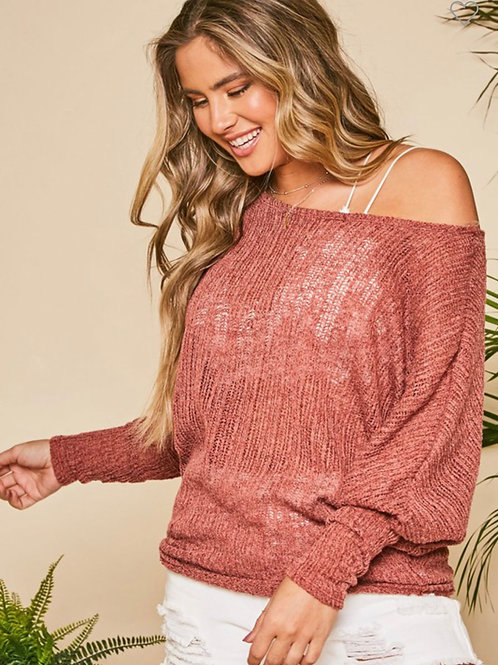 Light weight off the shoulder sweater