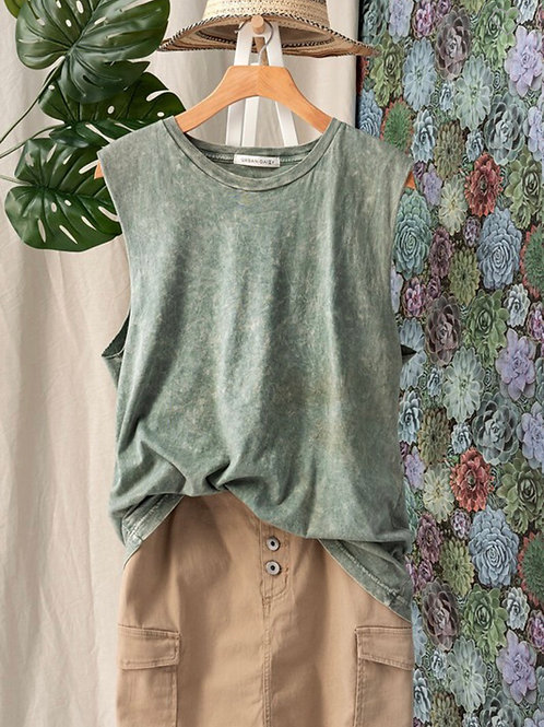 Vintage mineral wash muscle tank top