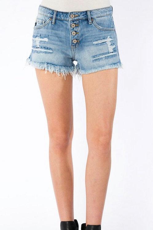 Mid rise frayed hem boyfriend shorts