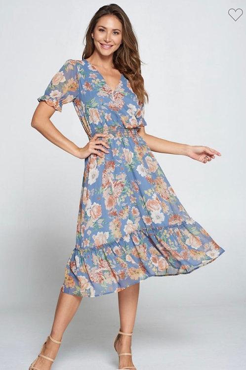 Floral woven midi dress