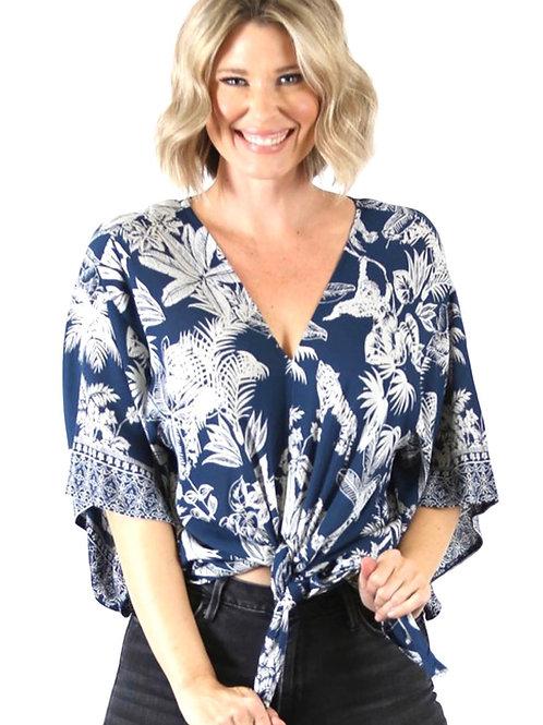 Nostalgia tie front blouse