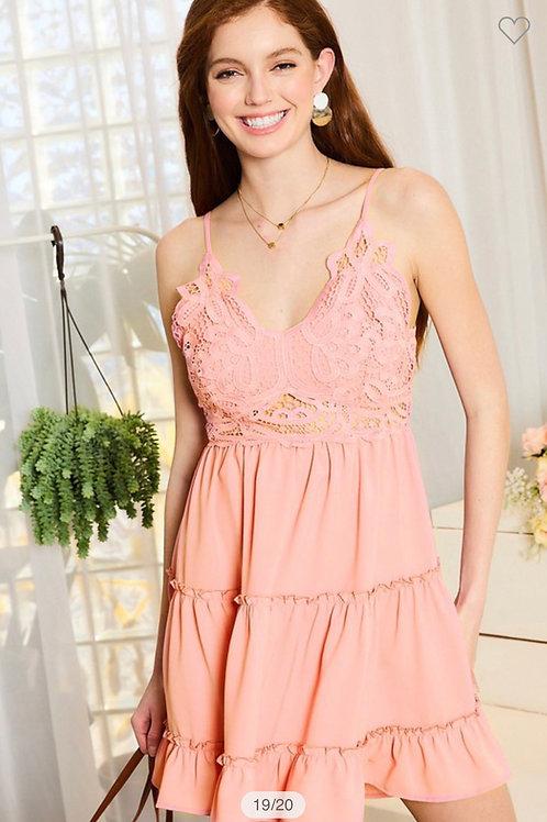 Lace trim back tie ruffle dress