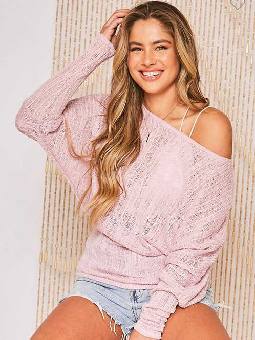 Light weight sweater off the shoulder