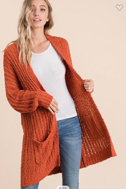 Popcorn cardigan sweater