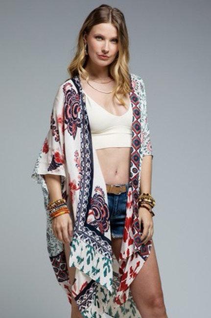 Navy/Red pattern kimono