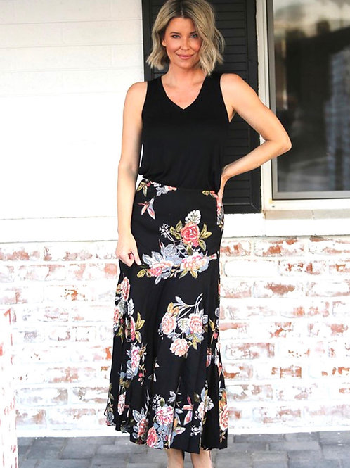 Nostalgia black floral print skirt