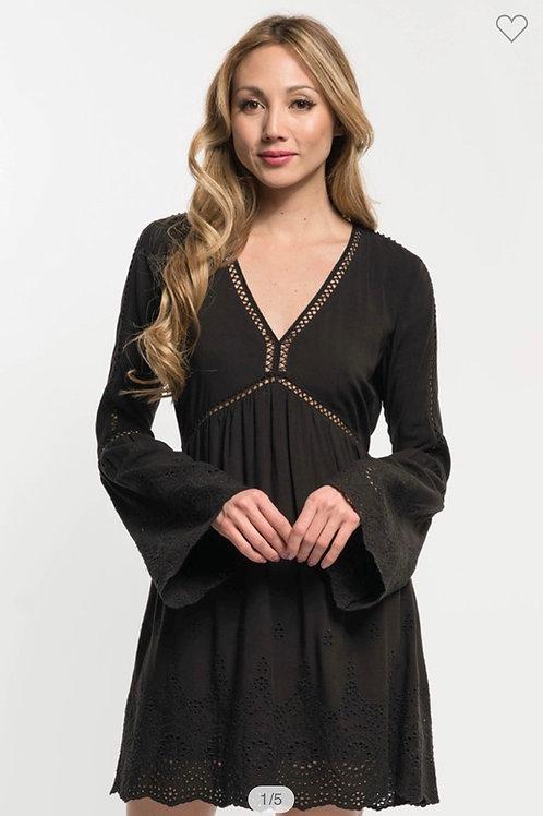 Lovestitch black embroidered eyelet plunge dress