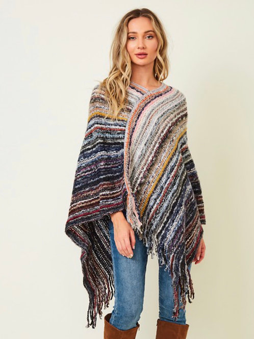 Multi color yarn sweater poncho