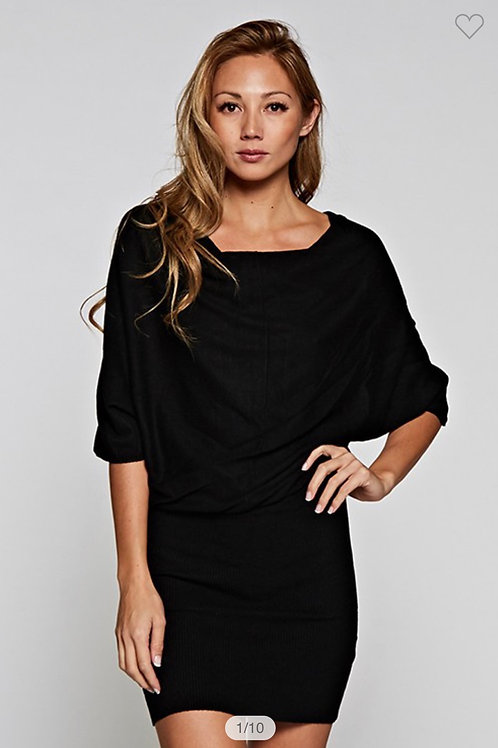 Black midi sweater dress