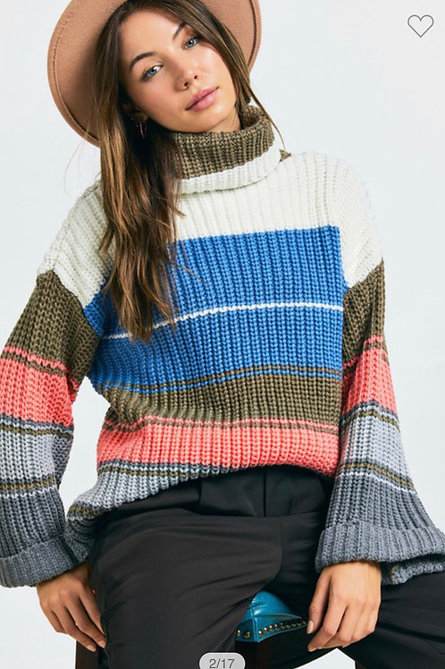 Color block turtle neck sweater