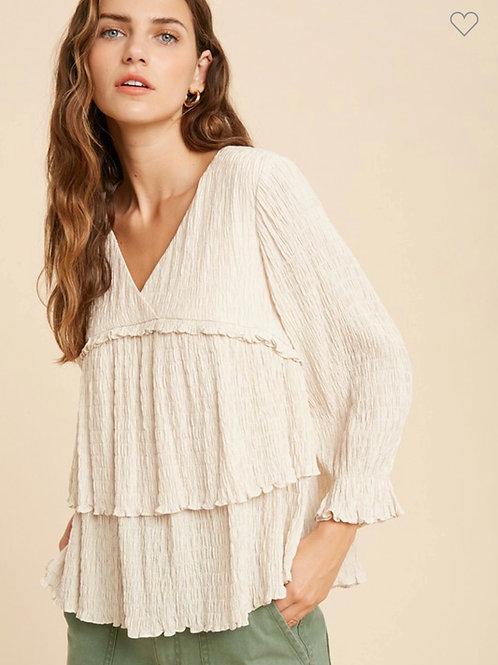 Crinkle ruffle tier blouse