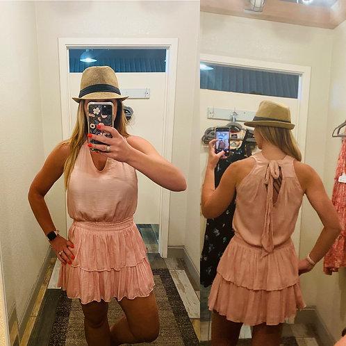 Peach ruffle mini dress