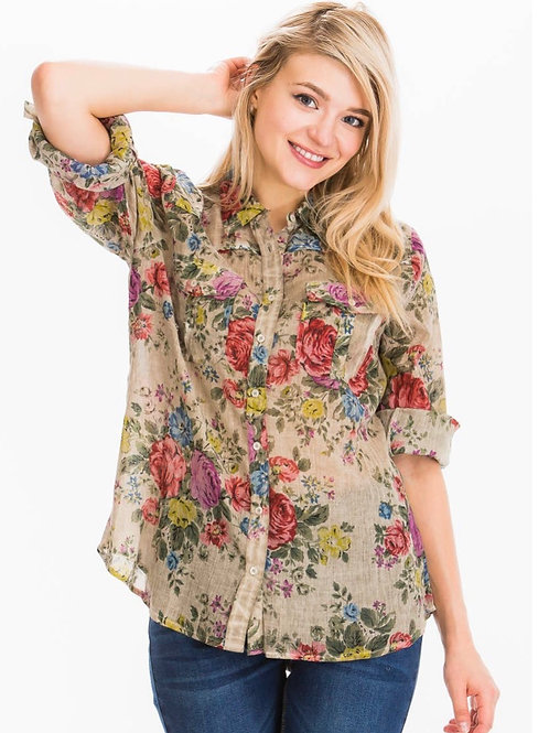 Cotton floral button down blouse