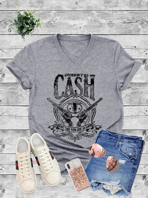 Johnny Cash v-neck tee