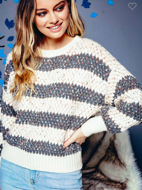 Textured striped sweater with rainbow speckles