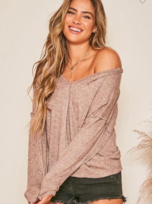 Super soft off the shoulder knit top