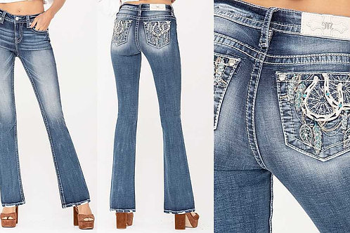 Miss Me Horseshoes and feathers denim