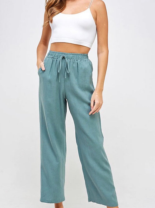 High rise cotton pants with drawstring