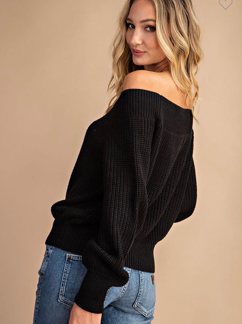 Chunky off the shoulder balloon sleeve sweater