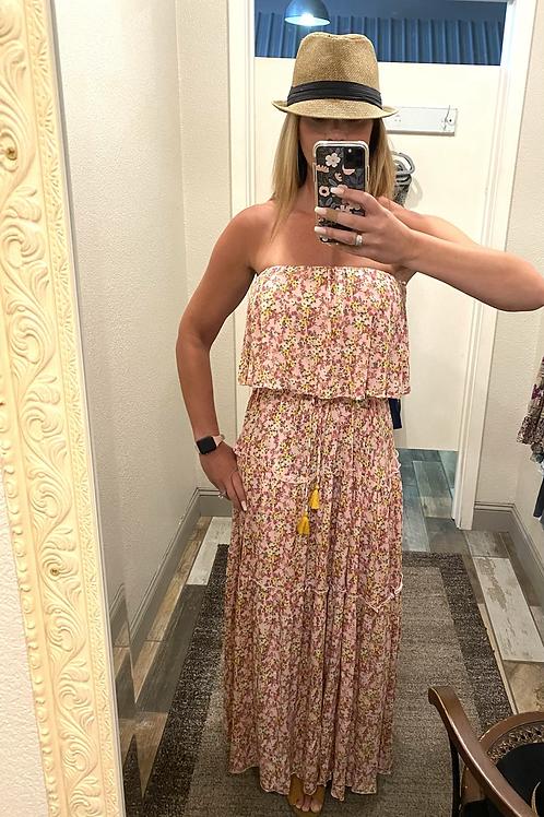 Strapless floral pink/gold dress