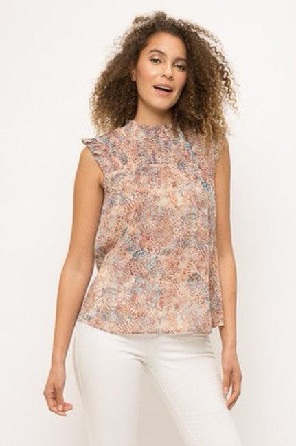 High neck ruffle hem floral blouse