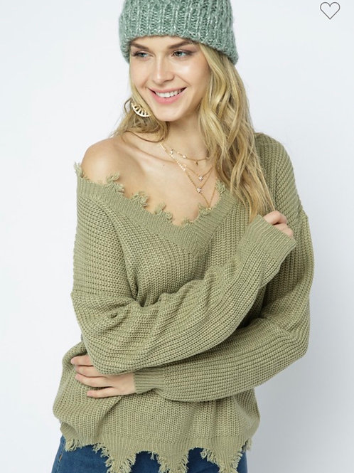 Olive green v-neck destroyed sweater