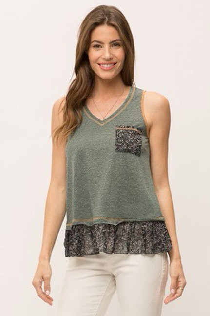 Cotton tank top with ruffle floral details