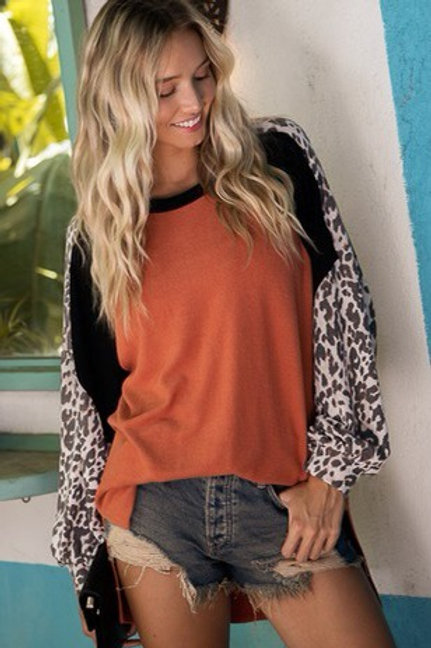Rust and leopard top