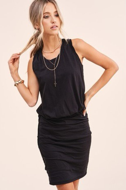 Ruched sides tank top dress