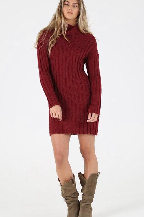 Burgundy turtle neck sweater dress