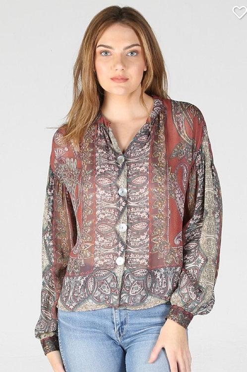 Angie paisley print sheer blouse
