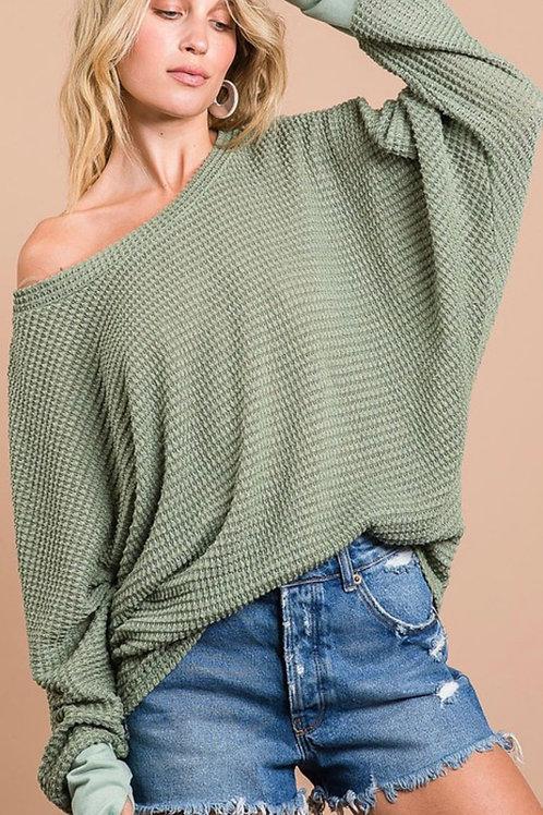 Sage green waffle knit top