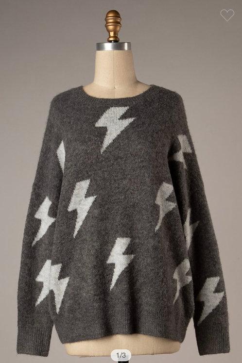 Lightening bolt grey sweater