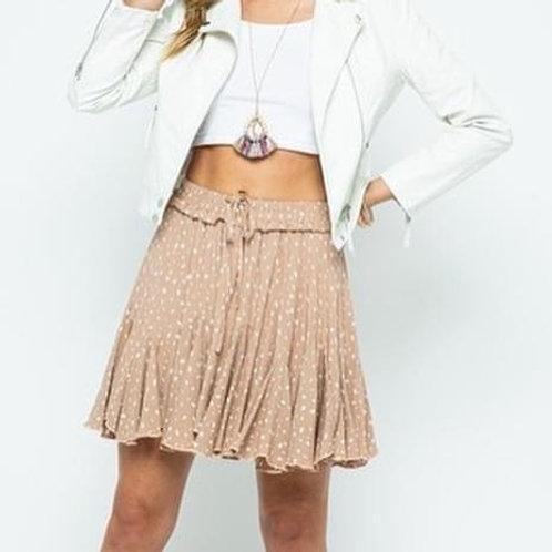 Tan/white floral skirt