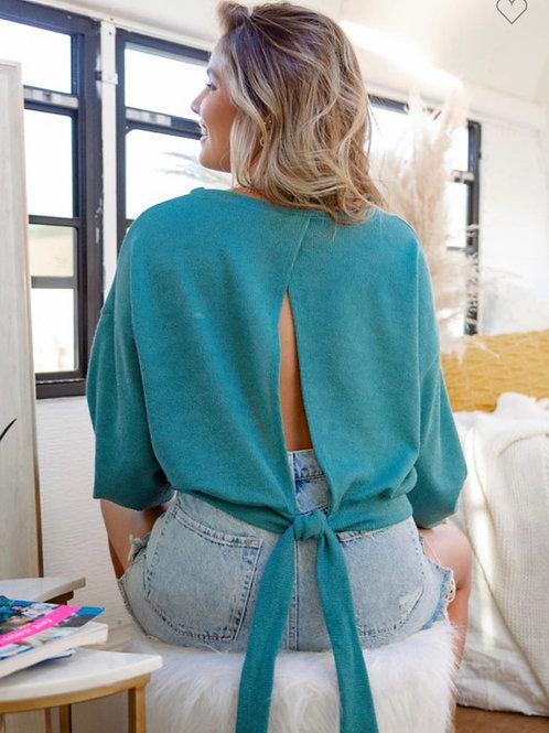 Aqua tie back sweater