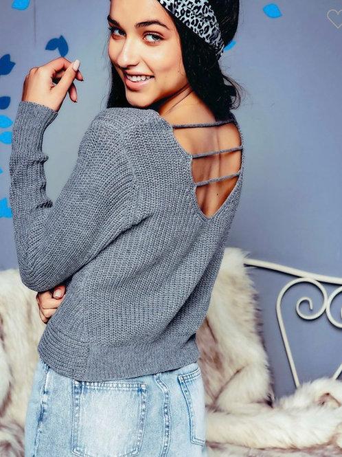 Knit cross front open back sweater