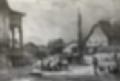 Stanser Dorfplatz mit Dorfbrunnen um 1828, Treffpunkt vor allem für Hausfrauen und Mägde, die wie auf dieser Abbildung im Nebentrog ihre Wäsche machten.
