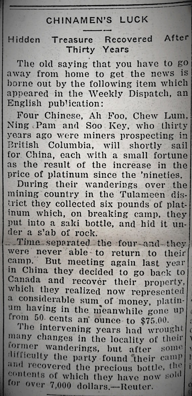 Chinese Mining History in BC, Canada