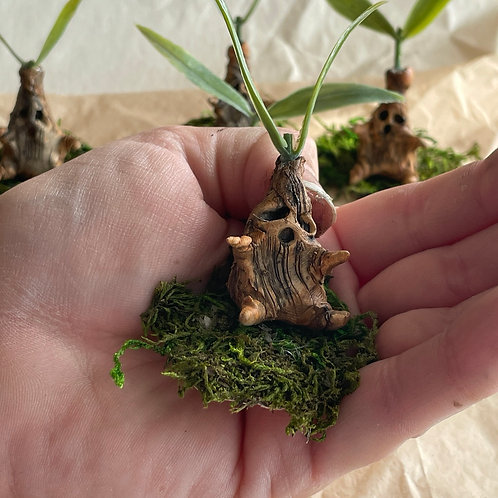 Baby mandrake sprout sculpture