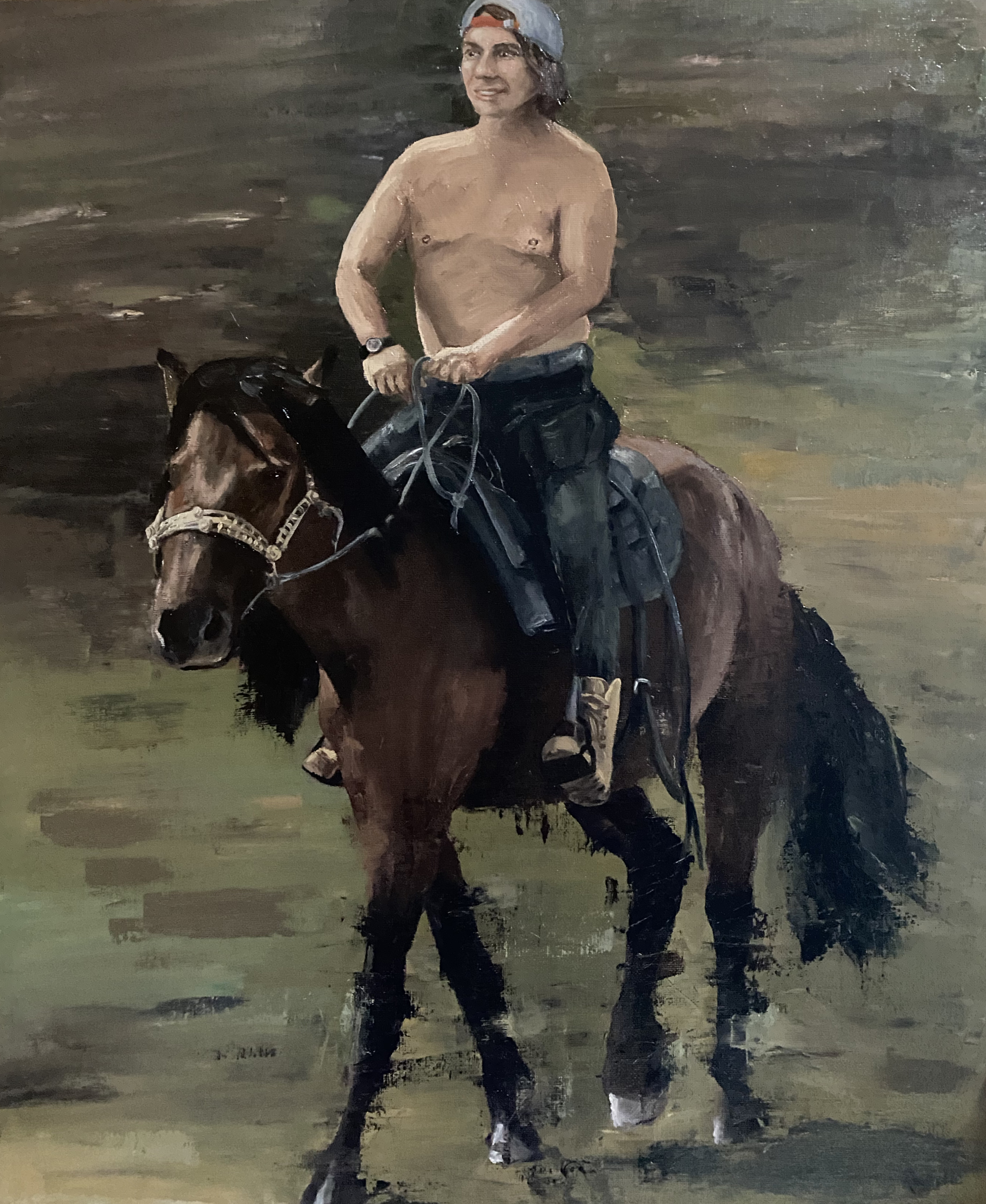 Guy on Horse - OIL 12 X 16