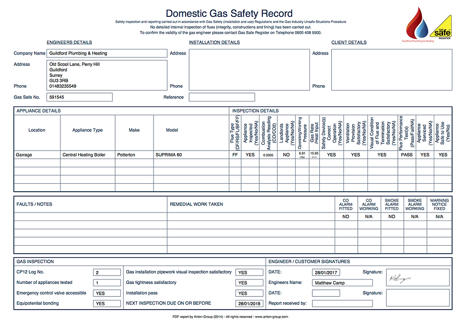 Gas safety record CP12