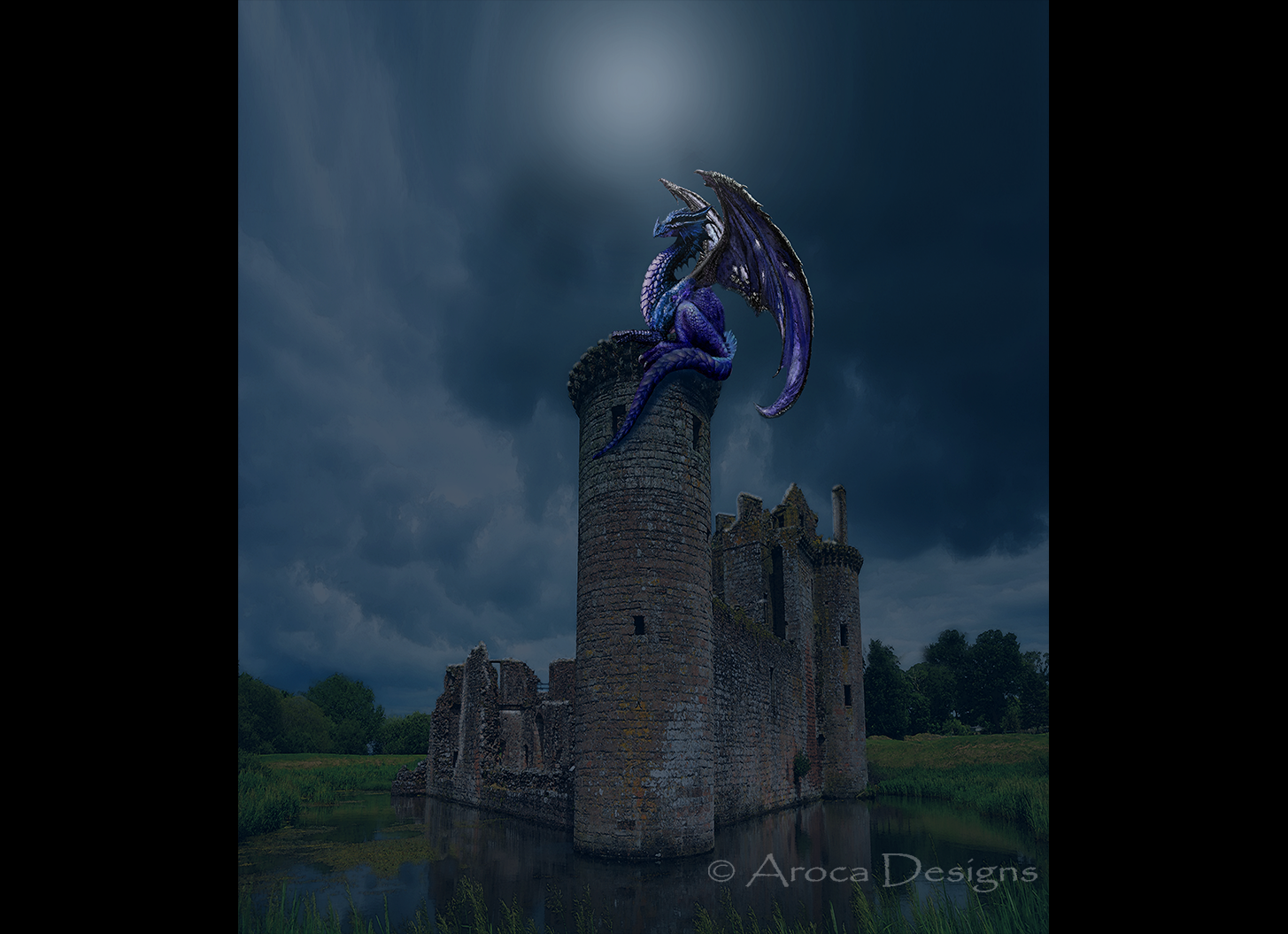 castle ruin with dragon