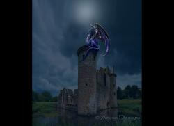 castle ruin with dragon