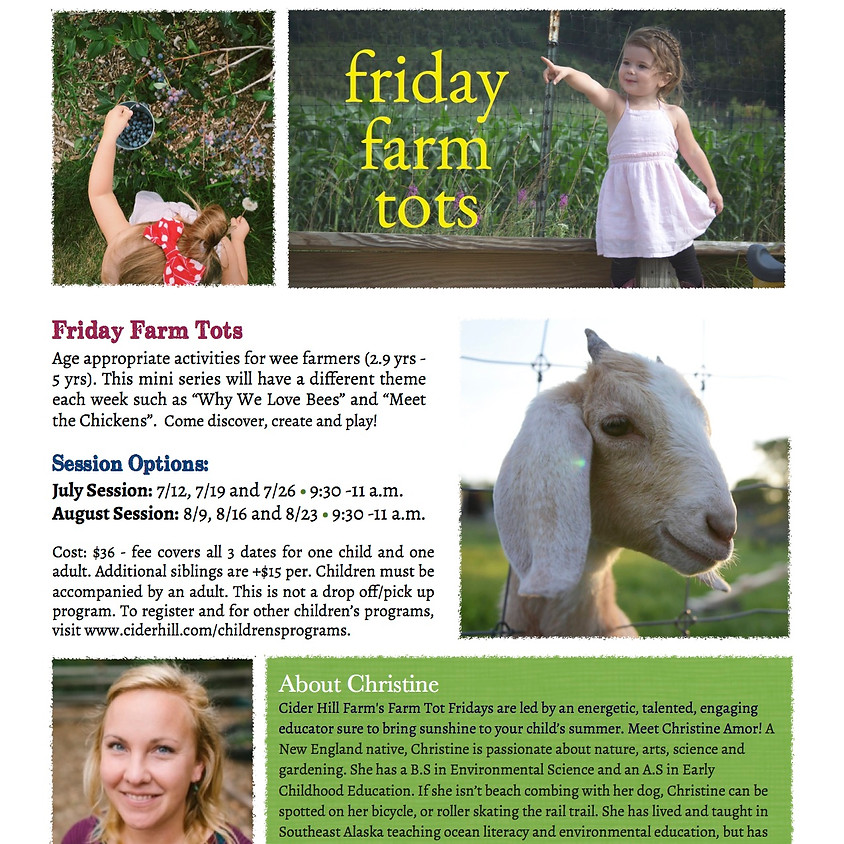 Meet Your Counselor! Friday Farm Tots