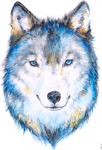 Original Watercolor Wolf