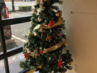 レッスン風景・・クリスマスツリーの飾りつけ🎄