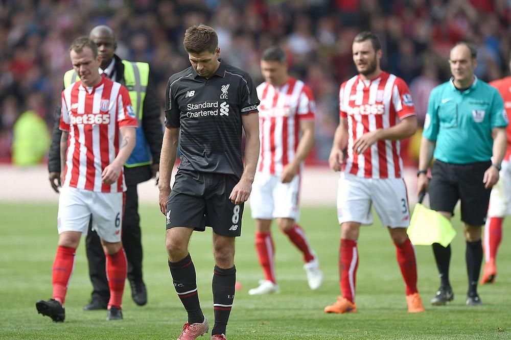 Steven Gerrard leaves the field.
